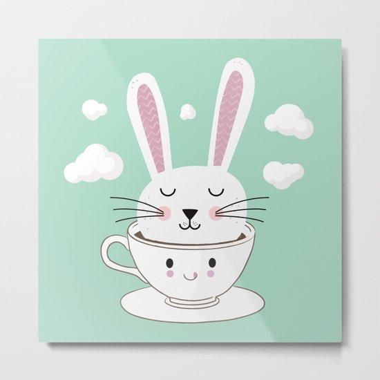 Take a Cup of Bunny Metal Print