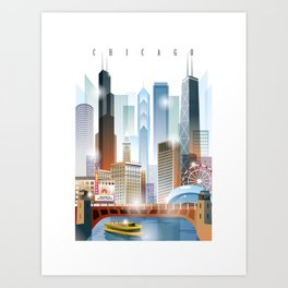 Chicago city skyline painting Art Print