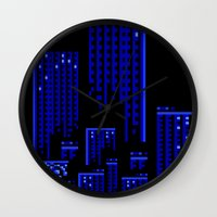cityscape Wall Clocks featuring Cityscape by Something Funny Is Happening