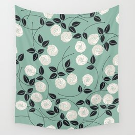 Pattern with white roses Wall Tapestry