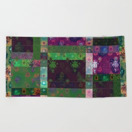 Lotus flower green and maroon stitched patchwork - woodblock print style pattern Beach Towel