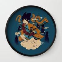 dragonball Wall Clocks featuring woodblockkakarot by Louis Roskosch