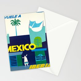 old poster iberia vuele a mexico lineas aereas Stationery Cards