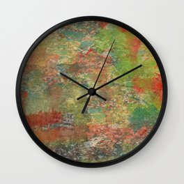 Abstract Orange and Greens on Old Concrete Wall Clock
