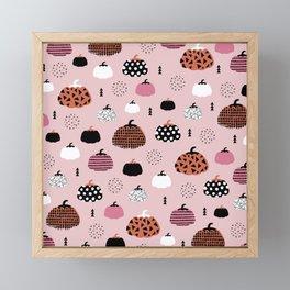 Halloween pumpkin patch harvest autumn garden pink orange girls pattern design print Framed Mini Art Print