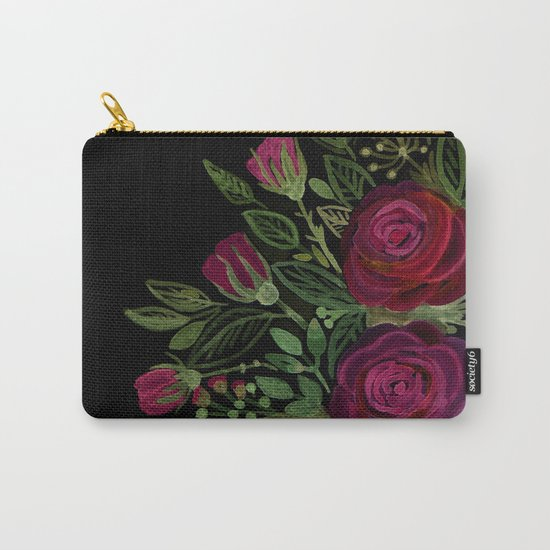 A bouquet of roses on a black background . Carry-All Pouch