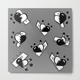 Hearts with Stitches - Black with Gray Metal Print