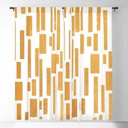 Abstract Bamboo White Gold Mid-Century Blackout Curtain
