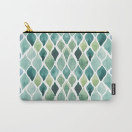 abstract watercolor drops pattern in emerald and blue Carry-All Pouch
