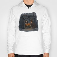 hallion Hoodies featuring The Witch in the Fireplace by Karen Hallion Illustrations