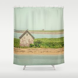 Little Beach House with Seagull Atop Shower Curtain