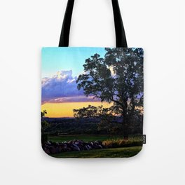 Country sunset - oak tree and stone wall silhouette Tote Bag