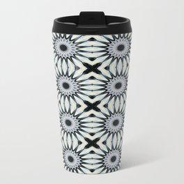 Ivory & Blue Pinwheel Flower Pattern Metal Travel Mug