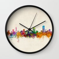 south africa Wall Clocks featuring Pretoria South Africa Skyline by artPause