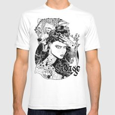 Be one with the wild White MEDIUM Mens Fitted Tee