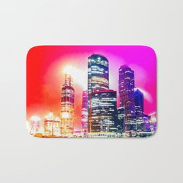 Shining Skyscraper Buildings At Red And Violet Night Bath Mat
