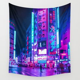Starry Purple Tokyo Nights Wall Tapestry