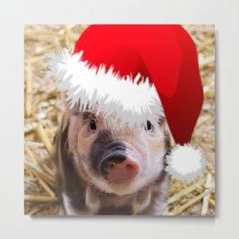 Cute little Christmas Piglet Metal Print