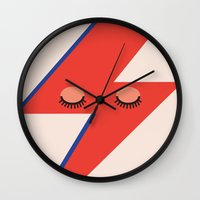 david bowie Wall Clocks featuring Music Minimals - David Bowie by Eric Crawford