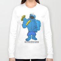 cookie monster Long Sleeve T-shirts featuring The Cookie Monster Lifts by VeilSide07