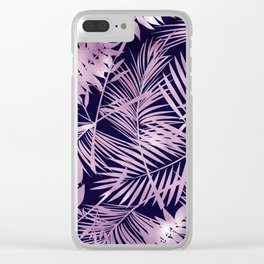 Tropical Palm Leaves Pattern: Heather Lilac-Pink Clear iPhone Case