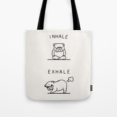 Inhale Exhale English Bulldog Tote Bag