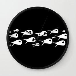 Fish Stripe. Minimalist Mid-Century Modern Fish School in Black and White Wall Clock