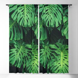 Monstera leaf jungle pattern - Philodendron plant leaves background Blackout Curtain
