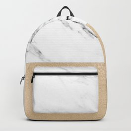 White Marble with Black and Copper Bronze Backpack