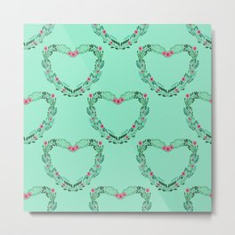 Heart Wreath Hand-painted in Green Ferns and Pink Blossoms on Aqua Metal Print