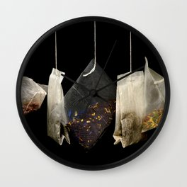 Teabags Hanging in the Air Wall Clock