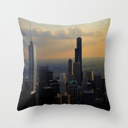 The Skyline at Dusk: From the Hancock (Chicago Architecture Collection) Throw Pillow
