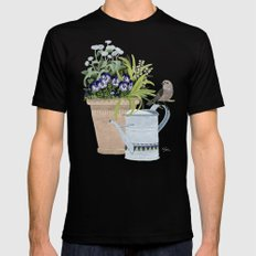 Pansies in a pot Black MEDIUM Mens Fitted Tee
