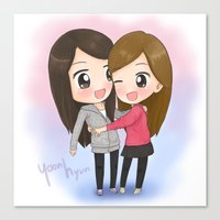 snsd Canvas Prints featuring SNSD Yoona&Seohyun Maknae couple by mewzim