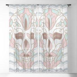SKULL IN PASTELS Sheer Curtain
