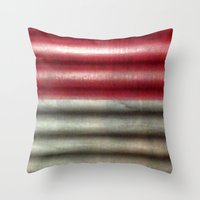 industrial Throw Pillows featuring 🔵 Industrial Wall by Nadia Bonello - Trū Artwear