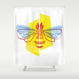 Be Safe - Save Bees linocut Shower Curtain