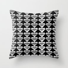 Diamonds Pattern - Black and White and Grey Throw Pillow