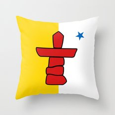 Flag of Nunavut - High quality authentic version Throw Pillow