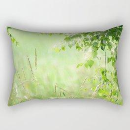 Birch leaves with Green Grass Rectangular Pillow