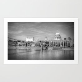 St Pauls Cathedral and the Millenium Bridge London Art Print