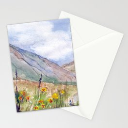 Mountain landscape by watercolor Stationery Cards