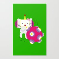 katamari Canvas Prints featuring Katamari Kitty by Martine Verfaillie