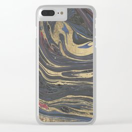Abstract navy blue gray coral gold marble Clear iPhone Case