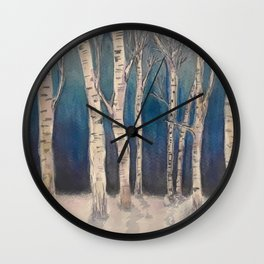 Birch Grove At Midnight Wall Clock