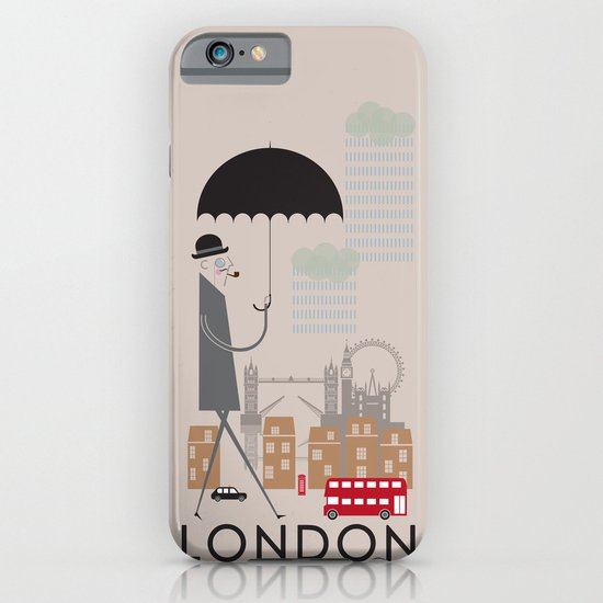 London - In the City - Retro Travel Poster Design iPhone & iPod Case