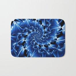Electric Blue Spiral Fractal Bath Mat