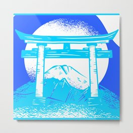Happy Fuji - Bright Blue Color Metal Print