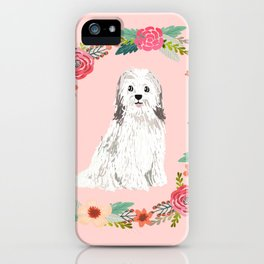havanese floral wreath spring dog breed pet portrait gifts iPhone Case
