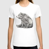 animals T-shirts featuring Bear // Graphite by Sandra Dieckmann